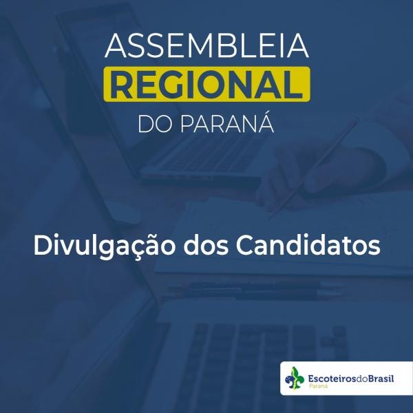Divulgação dos Candidatos para a Assembleia Regional do Paraná